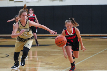 (Kelli Graves  • Clay County Progress) Mallory Peck chases down a Lady Wildcat for a steal in Hayesville's impressive win.