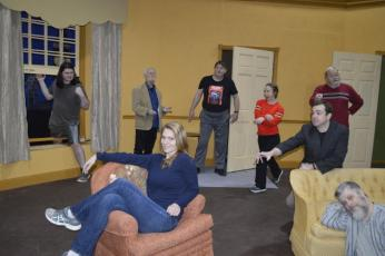 "Characters, front from left, Meredith Legg-Grady and David Layfield. Back, Joshua Sellers, Richard Cary, Jon Jordan, Renee Lamance, Max Beard and Larry Johnson practice for ""Out of Order."""