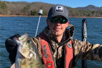 Hayesville senior, Caz Anderson, shows off a nice largemouth he brought up from the depths in February.