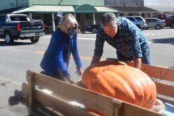 (Becky Long • Clay County Progress) Clay County Chamber of Commerce Director Pam Roman looks over a few of the pumpkins delivered to local businesses recently for the Chamber's pumpkin decorating contest. Chamber board member, David Alsobrook, right, handles the heavy work of unloading them to local businesses participating in the contest.