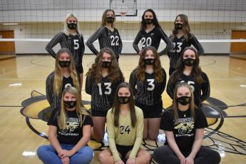 (Travis Dockery • Clay County Progress) The 2020-21 varsity Lady Yellow Jacket volleyball team is made up of, first row, from left, Gacelynn Anderson, Madison Crawford and Kynnly McClure. Second row, Emma Shook, Annelise Scheu, Allison Jones and Maggie Plemmons. Third row, Sydney Patterson, Jocelin Buckner, Hallie Johnosn and Jena Baldwin.